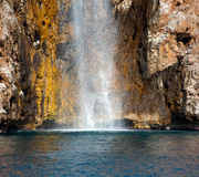 Closeup of the Waterfall on the sea Royalty Free Stock Photos