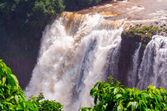 Closeup Waterfalls, Iguassu Falls in Brazil Royalty Free Stock Photography
