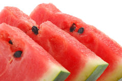 Closeup of watermelon. Slices of watermelon on white plate Royalty Free Stock Image