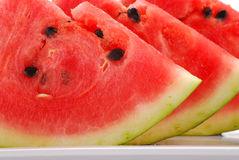 Closeup of watermelon. Slices of watermelon on white plate Royalty Free Stock Photography