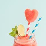 Closeup of watermelon smoothie in Mason jar Royalty Free Stock Photos