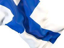 Waving flag of finland. Closeup of waving flag of finland. 3D illustration Stock Photos