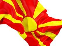 Waving flag of macedonia. Closeup of waving flag of macedonia. 3D illustration Royalty Free Stock Image