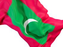 Waving flag of maldives. Closeup of waving flag of maldives. 3D illustration Royalty Free Stock Photography
