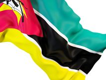 Waving flag of mozambique. Closeup of waving flag of mozambique. 3D illustration Stock Photography