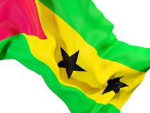 Waving flag of sao tome and principe. Closeup of waving flag of sao tome and principe. 3D illustration Stock Images