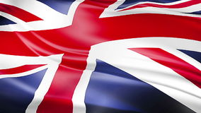 Closeup of waving flag of Union Jack, uk england,  united kingdom flag. Seamless looping 3D rendering stock video