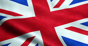 Closeup of waving flag of union jack, uk great britain england symbol stock video