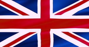 Closeup of waving flag of union jack, uk great britain england symbol, named united kingdom stock footage