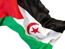 Waving flag of western sahara. Closeup of waving flag of western sahara. 3D illustration Royalty Free Stock Photos