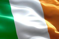 Closeup of waving ireland celtic flag, national symbol of irish sign royalty free illustration