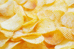 Closeup wavy potato chips Stock Photography