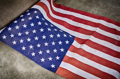 Closeup of weathered American flag Royalty Free Stock Images