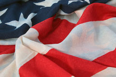 Closeup of weathered USA flag Stock Photos
