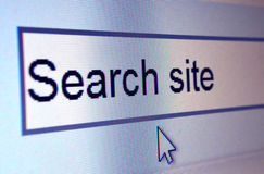 Closeup of website element reading: Search site. Computer screen showing Search Site. Internal website search engine Stock Photography