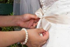 Closeup of a wedding dress Royalty Free Stock Photo