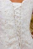 Closeup of a wedding dress Royalty Free Stock Image