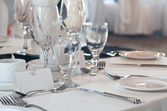 Closeup of wedding place setting Stock Image
