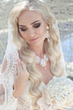 Closeup wedding portrait of gorgeous bride. Beautiful blond woma Royalty Free Stock Photos