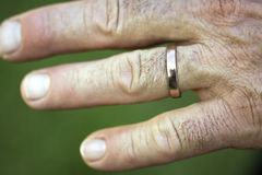 Closeup of a wedding ring on a man's hand Royalty Free Stock Images