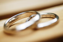 Closeup of wedding rings. Wedding ring macro shot with ring details Royalty Free Stock Photo