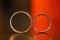 Closeup with wedding rings Royalty Free Stock Photos