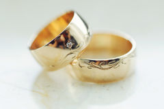 Closeup of Wedding Rings Stock Images