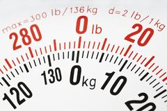 Closeup of the weight scale kg and lb. Closeup of the weight scale focused on zero kg and lb royalty free stock images