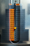 Closeup of weight stack with orange Stock Photo