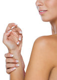 Closeup on well-groomed female hands Stock Photo