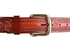 Closeup of western style leather belt on white Royalty Free Stock Photography