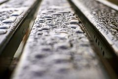 Closeup wet wood bench after rain stock photo