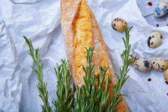 Closeup of wheat baguette, twigs of fragrant rosemary, little quail eggs on a light gray background. Close-up of a gray table with white wheat baguette, little Stock Images