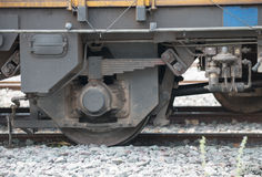 Closeup wheel break and suspension system of train Stock Images