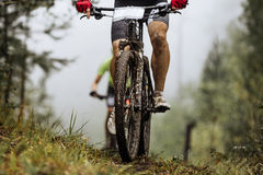 Closeup wheel mountainbike and feet rider in spray of dirt. Riding in autumn forest stock photo