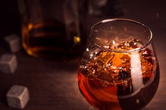 Closeup of whiskey glass Royalty Free Stock Photos