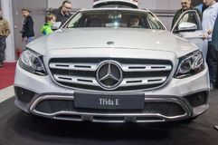Closeup of white brand new Mercedes Benz royalty free stock image