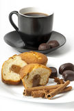 Closeup of white cup of coffee and cake Stock Photos