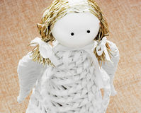 Closeup of a white decorative paper angel Royalty Free Stock Photography