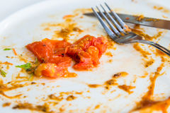 Closeup white dirty dish with tomato Stock Image