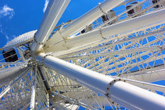 Closeup of white Ferris wheel. Stock Image