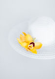 Closeup of white hat and flowers Royalty Free Stock Image
