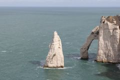 Closeup of the white limestone cliffs in etretat, normandy, france Royalty Free Stock Photo