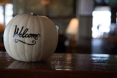 Closeup white pumpkin hand written word welcome Royalty Free Stock Photo