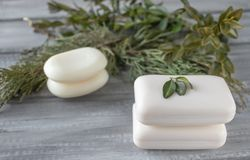 Closeup of white soap on a wooden table with green branches royalty free stock photography