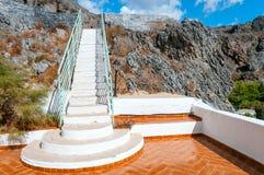Closeup white staircase. Long white staircase leading to the sky Royalty Free Stock Photos