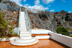 Closeup white staircase. Long white staircase leading to the sky Stock Photography
