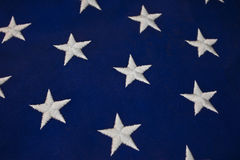 Closeup of White Stars on Blue Background of American Flag. Or Navy Jack for Background or Abstract Royalty Free Stock Image