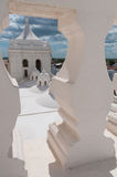 Closeup of white stone balustrade looking through. To cathedral of leon in Nicaragua Royalty Free Stock Photos