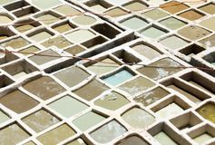 Closeup of White Vats at a Tannery in Morocco Royalty Free Stock Image